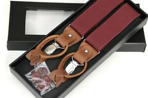 Maroon Suspenders for Men, Leather Clip on/Button Suspenders for Groomsmen