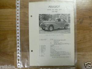 PE03-PEUGEOT TYPE 203, 203L, 203U 1956-1960 -INFO TECHNICAL SEDAN OLDTIMER