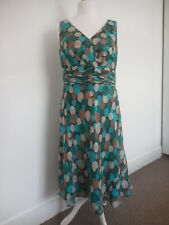 Monsoon Green Polka Dot 100% Silk Fit & Flare Party Dress UK 16 ❤