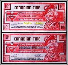 2x CANADA 1992 - 2008 CANADIAN TIRE MONEY LIMITED CASH BONUS 10 CENT NOTES LOT