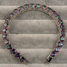 18K White Gold Filled - 7'' Round 6mm MYSTIC Topaz Party Cuff Bracelet 12 Color