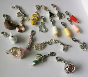 Job Lot Of Clip On Bracelet Charms. New With Silver Plated Lobster Clasps. 19.