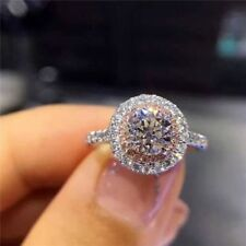 1.80ct Round White & Pink Diamond Double Halo Engagement Wedding Ring 925 Silver