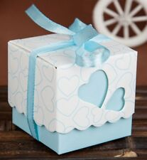 20 x White & Turquoise Heart Wedding Bomboniere Candy Box Treat Sweets Favours