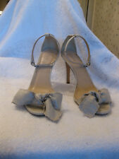 J Crew 9 Leather and Metallic Linen Bow High Heel Sandals b7918 Sold Out $238
