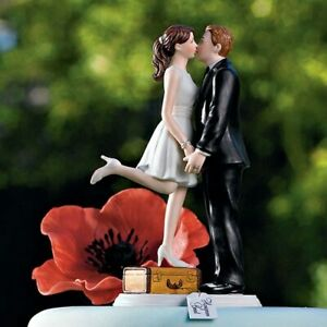 A Kiss And We're Off Romantic Wedding Cake Topper WITH Custom Hair Colors