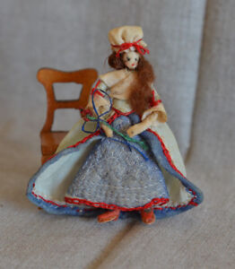 Vintage Artisan Dollhouse Miniature Lady Doll 18th Century Colonial Woman 3""