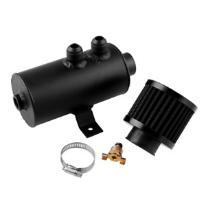 Car Baffled Oil Catch Can Kit 2x AN10 Twin Port 0.75L w/Breather Filter Black