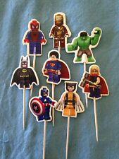 Cupcake Cake Toppers Lego Superhero  24pcs