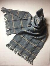 Vintage PENDLETON Plaid 100% Virgin Wool Scarf Unisex With Fringe Grays & beige