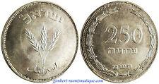 ISRAEL  ,  250  PRUTAH  ARGENT  1949  ,  EPI  D' ORGE  ,   SUPERBE