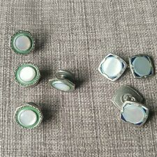 2 Pair Vintage Enamel and Mother of Pearl Cuff Links