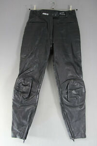 ASHMAN BLACK COWHIDE LEATHER BIKER TROUSERS SIZE 12:WAIST 28 IN/INSIDE LEG 29 IN