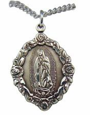 "Our Lady of Guadalupe Sterling Silver 1-1/16"" Medal w/ 18"" Chain Made in USA"