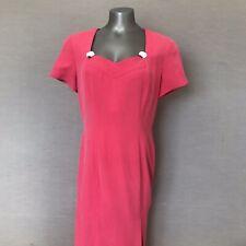 adrianna papell 100% Silk Pink Sweetheart Dress Roses Vintage Sz 12 Short Sleeve