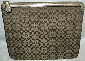 Coach Signature Brown Gold Metallic iPad Tablet Soft Cover Sleeve Holder Padded