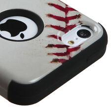 BASEBALL DESIGN TUFF IMPACT HYBRID CASE COVER FOR APPLE IPHONE 5C PHONE