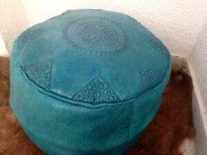 Moroccan Pouffe Leather Footstool Authentic pouf seating ottoman poufe-Turquoise