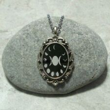 Triple Moon Lunar Phase Pendant Necklace Jewelry Antique Silver
