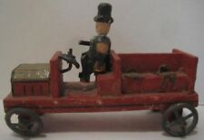 Old German Wooden Carved Erzgebirge Truck w/ Wire Spoke Wheels and Rider