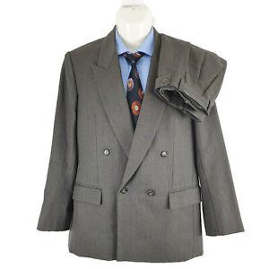 Leabro Cash Mens 2 PCs Suit Wool & Cashmere Striped Sz ~ AU36 | CHEST 40IN SU27
