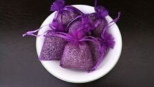Set of 6 Natural French Lavender Buds Sachets Purple Organza Bags