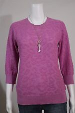Dana Buchman Misses MEDIUM Lavender Purple Animal Print 3/4 Sleeve Sweater Shirt
