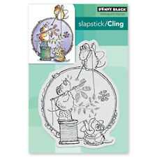 New Penny Black STITCH IN TIME Slapstick Cling Rubber Stamp Sewing Mice Needle