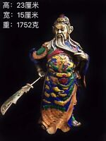 China Fengshui Cloisonne Dragon Warrior god Guan Gong Yu Hold Sword Stand Statue