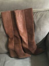 New in box 7 for all mankind Ora size 10 taupe Waxy Suede Wedge Boot