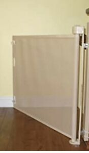 """retract a gate baby pet retractable safety gate 52 inch wide 34"""" tall beige cafe"""