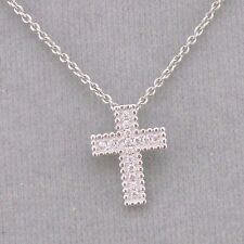 Tiny Cross Necklace Pendant  Cubic Zirconia 925 Sterling Silver Jewelry NEW
