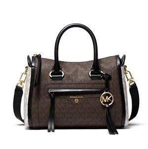 Michael Kors Bag Handbag Carine Sm Logo Satchel Tricolor Braun Multi New