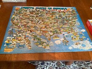 complete Springbok The Good Old USA - Map 1000 piece Robert Martin art