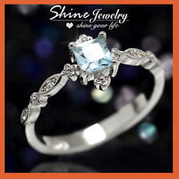 Sterling Silver Filled Aquamarine CZ Vintage Marquise Dot Filigree Wedding Ring