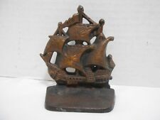 Small Bronze Cast Iron Viking Pirate Ship Bookend Paperweight Desk Accessory