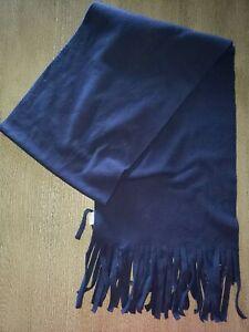 OLD NAVY dark blue men or women solid color FLEECE SCARF winter fringe trim 64
