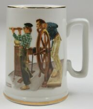 Vintage Norman Rockwell Collectible Mug Gold Trim River Pilot 1985 Collectible