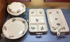 10 piece Vintage Ceramic Serving Dishes with Metal Stands Great for Club Meeting