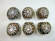 New listing Vintage Tiger Cowrie Sea Shell Napkin Rings 6 Set Hand Carved Floral Sunburst