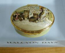 "Halcyon Days Kittens on Wintry Path - Smithsonian Institute Enamel Box - <2 1/8"""