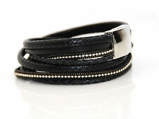 New Design Multi Strand Real Leather Two Wrap Bracelet UK