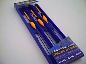 3 x Assorted Bandit Pellet & Corn Carp Pole Rigs.Barbless Hooks with Bait Bands.
