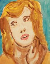 Vintage watercolor painting fauvist female portrait