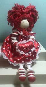 Valentine Button Doll Made of Buttons and Spools Shelf Sitter Red Hearts