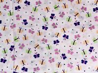 "Pink Purple Dainty Butterflies Flowers Cotton Quilt MASK Fabric 18"" x 21"" ~ FQ"