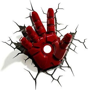Marvel AVENGERS Iron Man HAND 3D FX LIGHT Wall DECO Night Light + Sticker
