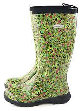 Muckboots Womens Breezy Tall Insulated Rain Boot Green Flower Print Size 11 M