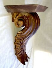 Vintage Hand Carved Primitive Wood Wall Shelf Sconce - Acanthus Leaf