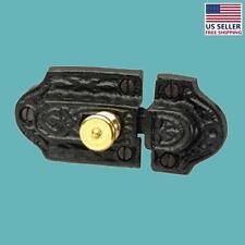 Ornate Cast Iron Slide Cabinet Latch Brass Knob | Renovator's Supply
